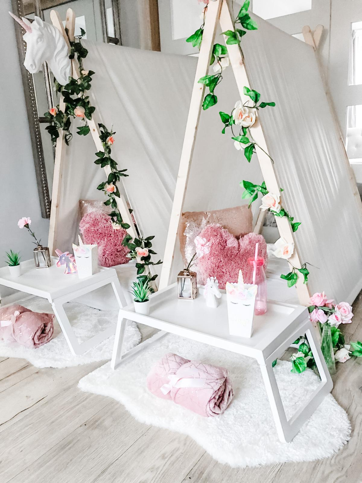 Unicorn themed Party Teepee Hire